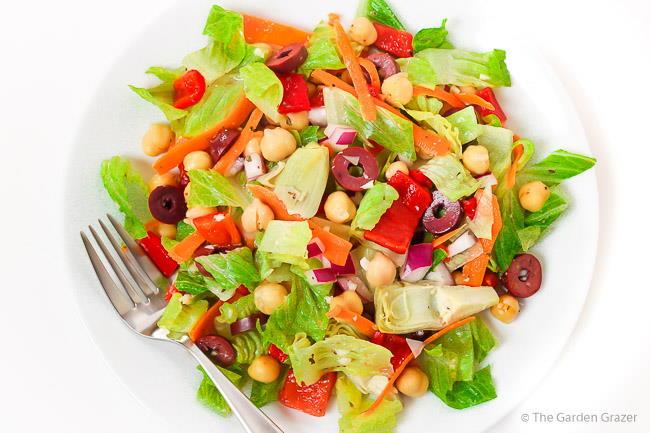 Vegan Italian Salad on a plate with fork