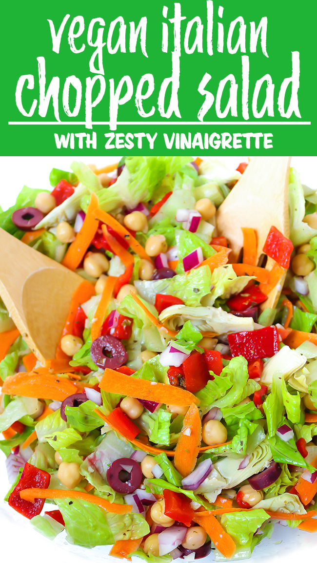 vegan Italian Chopped Salad with zesty vinaigrette in a bowl