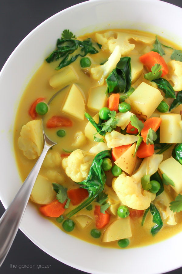Vegan coconut curry soup in a bowl with spoon