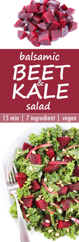 Photo collage of Balsamic Beet and Kale Salad