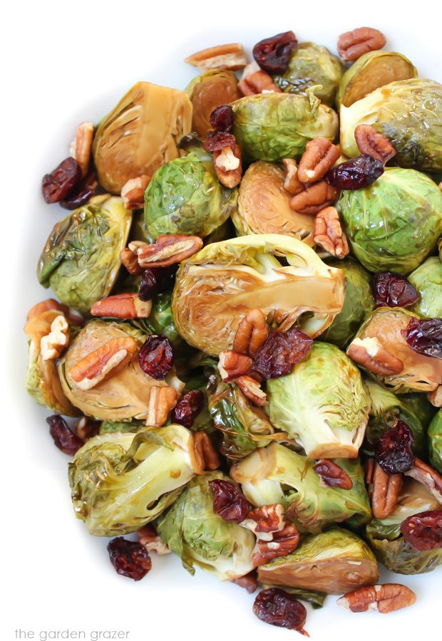 Balsamic roasted brussels sprouts with pecans and cranberries