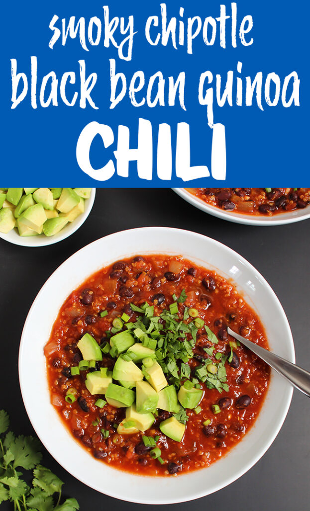 Vegan chipotle black bean chili in a bowl