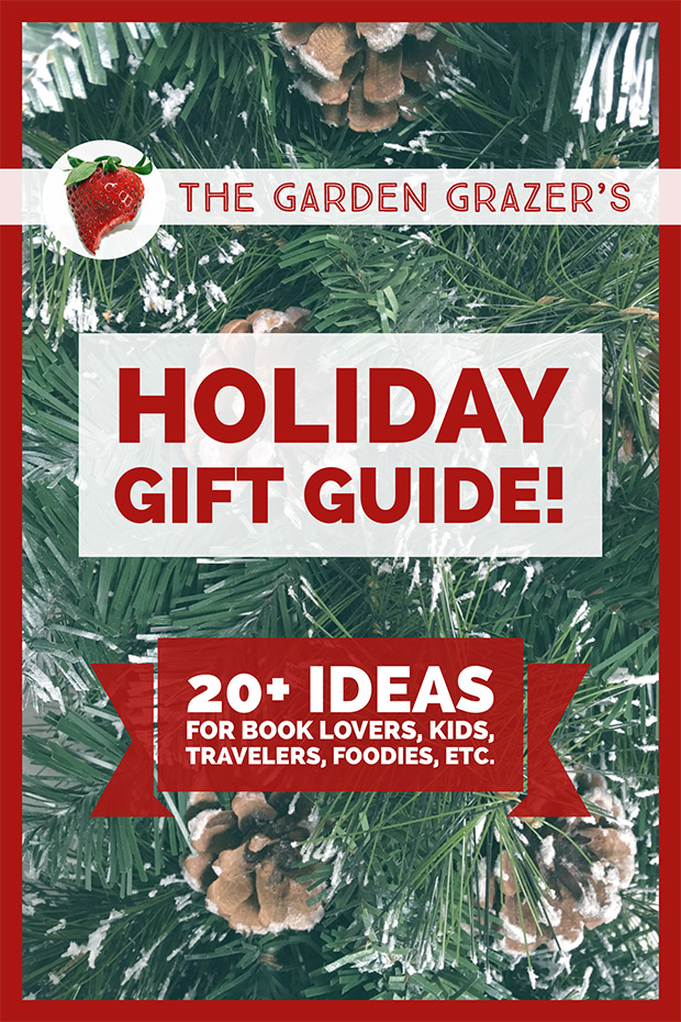 The Garden Grazer Holiday Gift Guide with Christmas tree backdrop