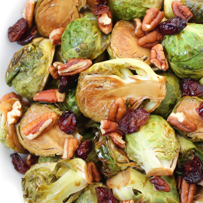 Maple balsamic roasted Brussels Sprouts with cranberry