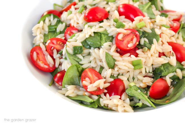 Orzo salad in a bowl with tomato, spinach, and green onion