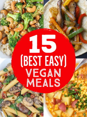 best easy vegan weeknight meals photo collage