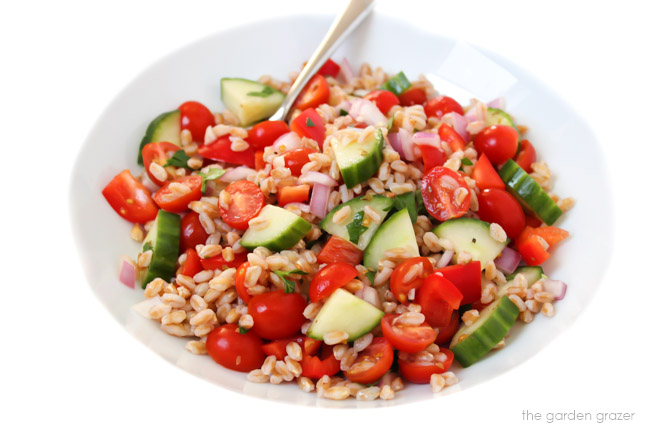 Bowl of farro salad with cucumber and tomato