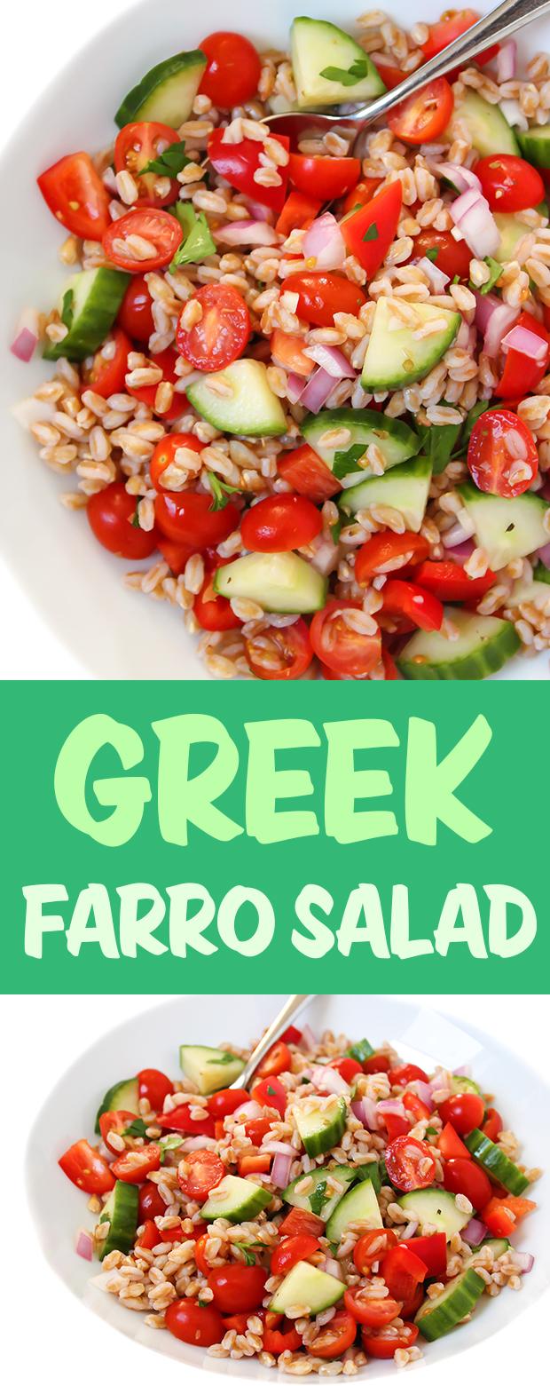 Vegan Greek Farro Salad photo collage