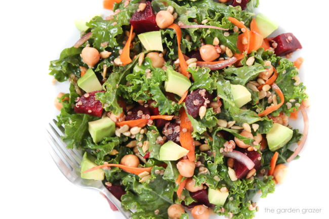 Kale salad in a bowl with fork