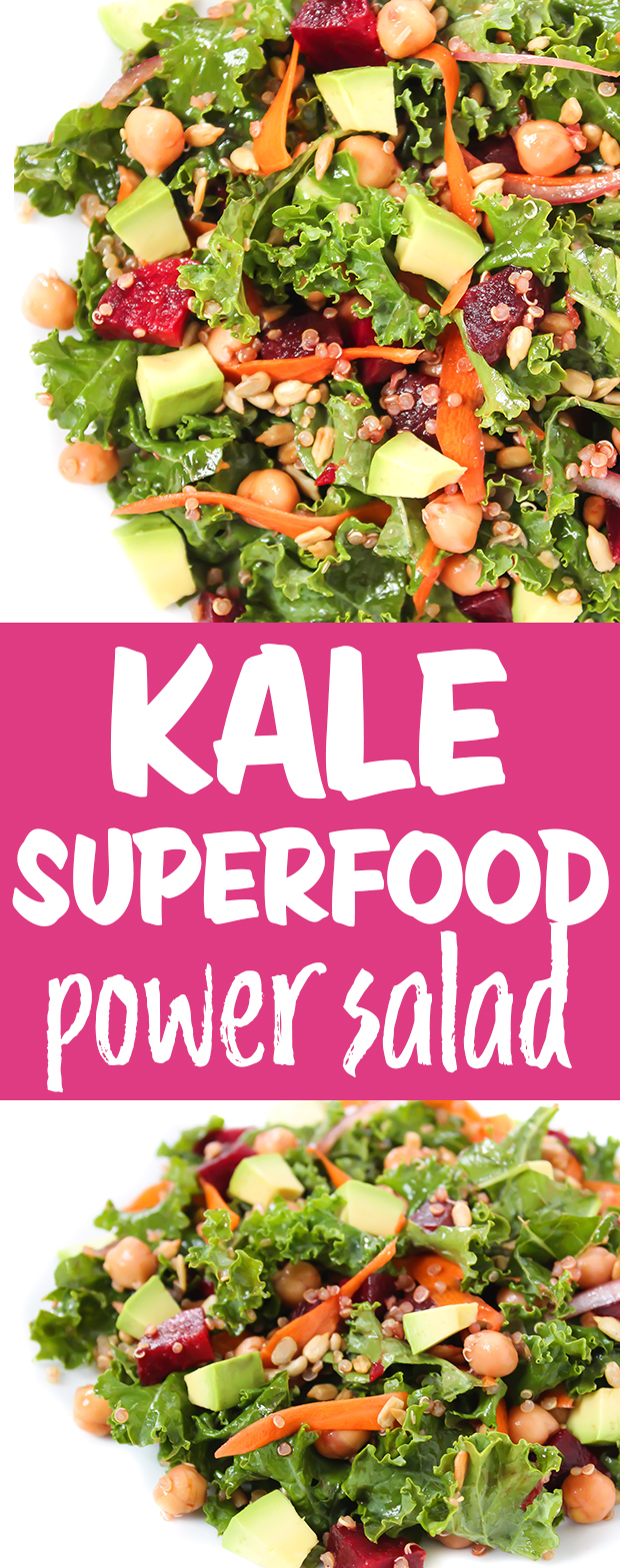 photo collage of kale superfood salad