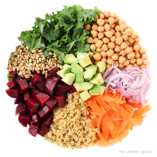 Ingredients for kale superfood salad in a bowl