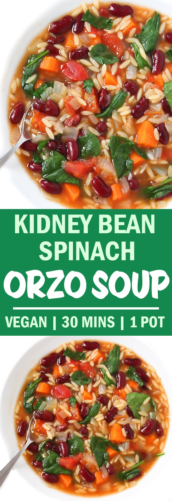 Photo collage of kidney bean spinach orzo soup