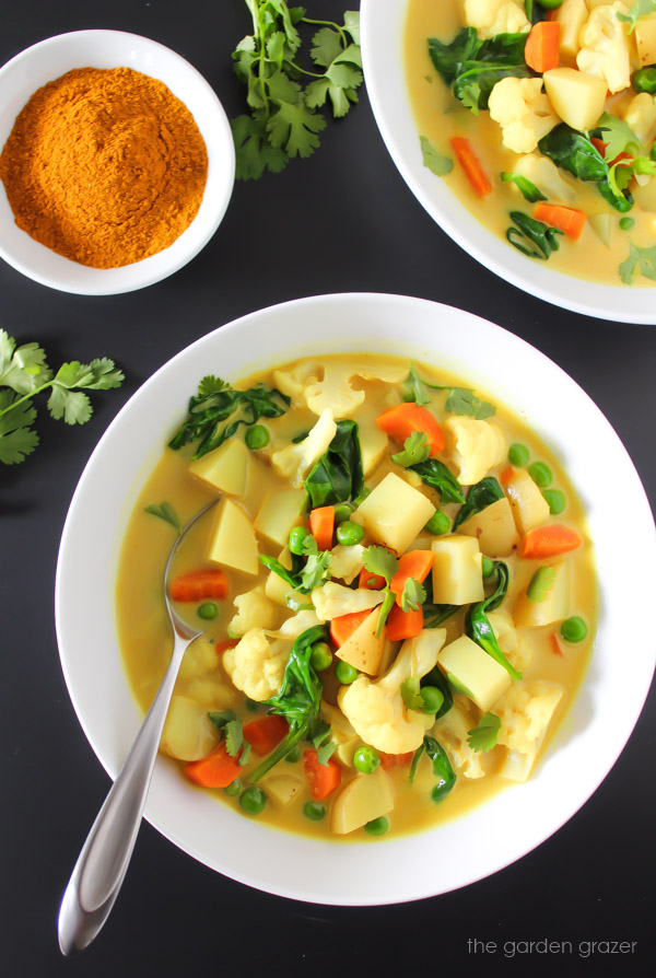 Bowls of vegan coconut curry soup