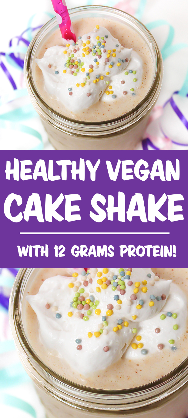 Vegan cake shake photo collage