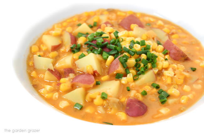 Bowl of corn and potato chowder topped with chives