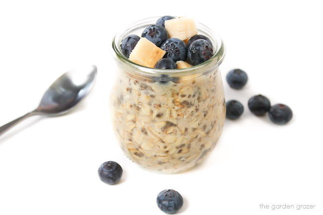 Jar of overnight oats with spoon