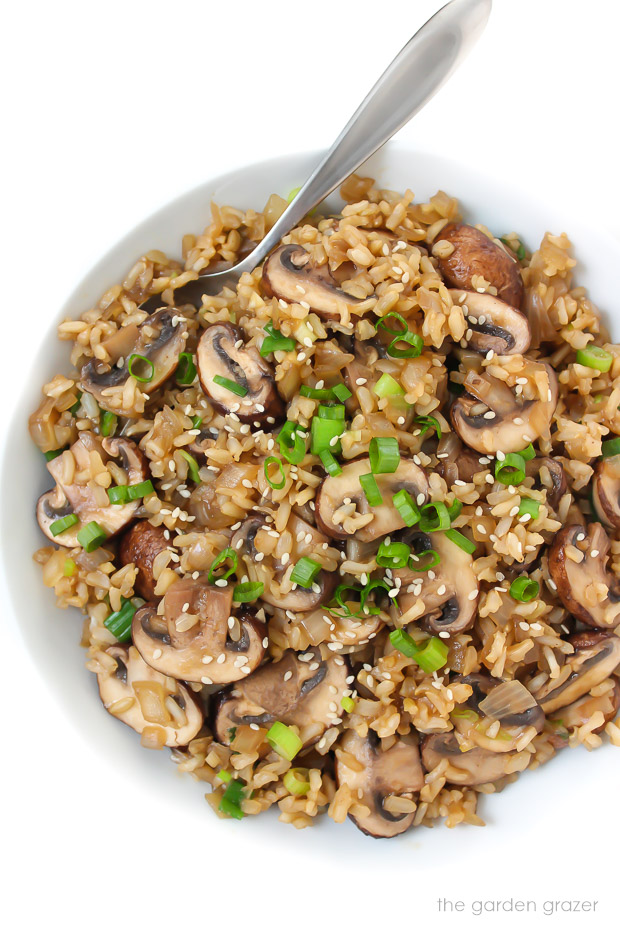 Bowl of mushroom rice with spoon