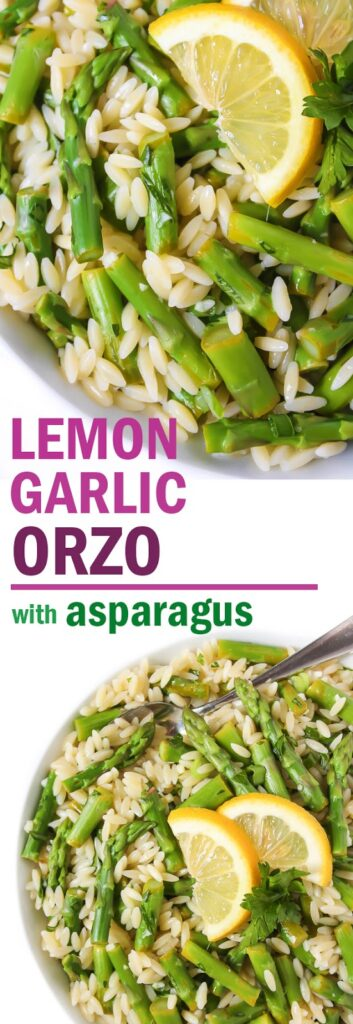 Photo collage of lemon garlic orzo