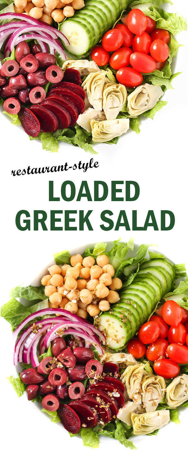 Photo collage of loaded Greek Salad