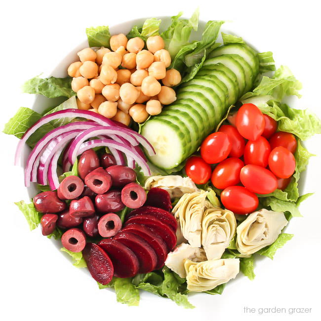 Vegan Greek-style salad in a bowl