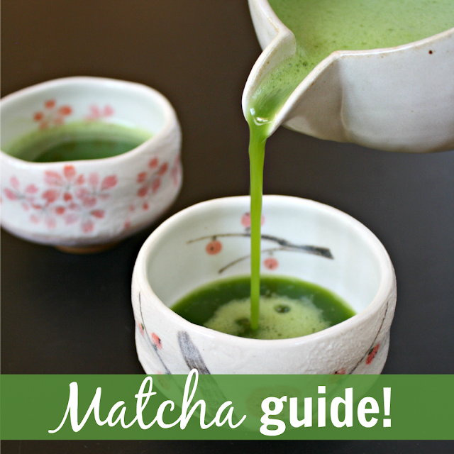 Pouring hot whisked matcha tea in a small cup