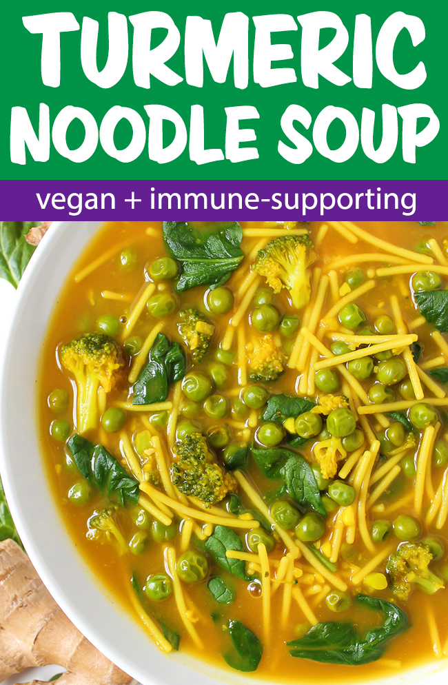 vegan turmeric noodle soup photo collage