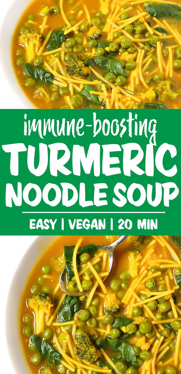vegan turmeric noodle soup in bowls