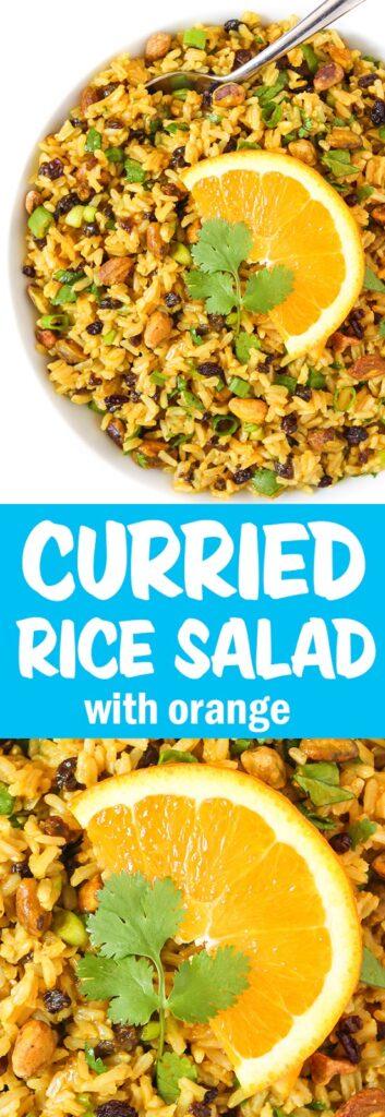 Photo collage of curried orange rice salad
