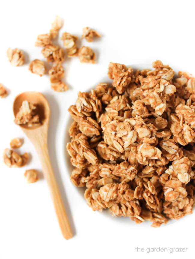 Small bowl with peanut butter granola crumbles