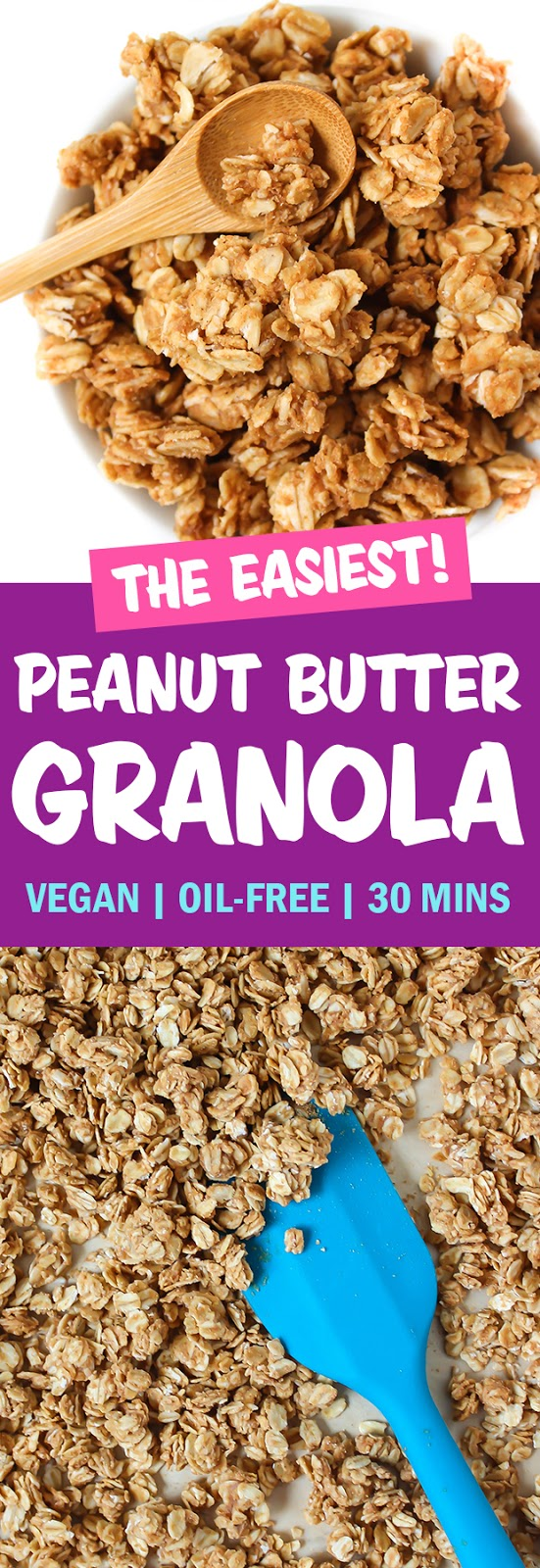 photo collage of vegan peanut butter granola