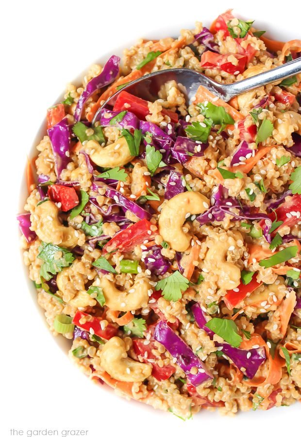 Vegan Thai Quinoa Salad in a bowl with spoon