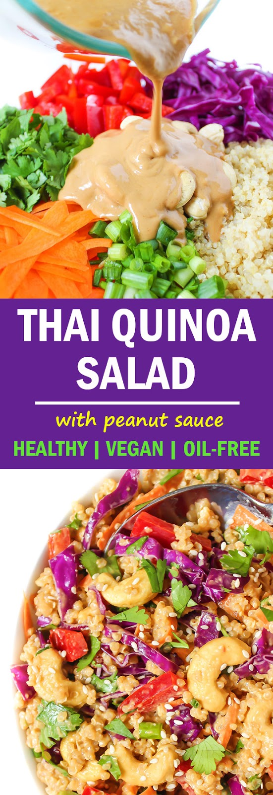 Photo collage of Vegan Thai Quinoa Salad