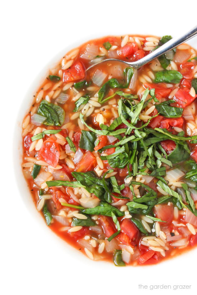 Tomato Soup with orzo and spinach in a bowl with spoon
