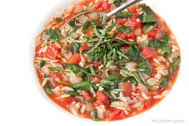 Tomato Orzo Soup topped with fresh basil in a bowl