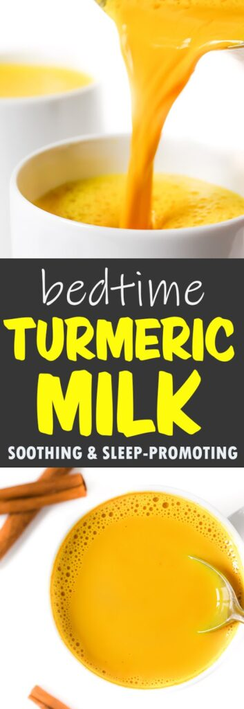 photo collage of bedtime turmeric milk