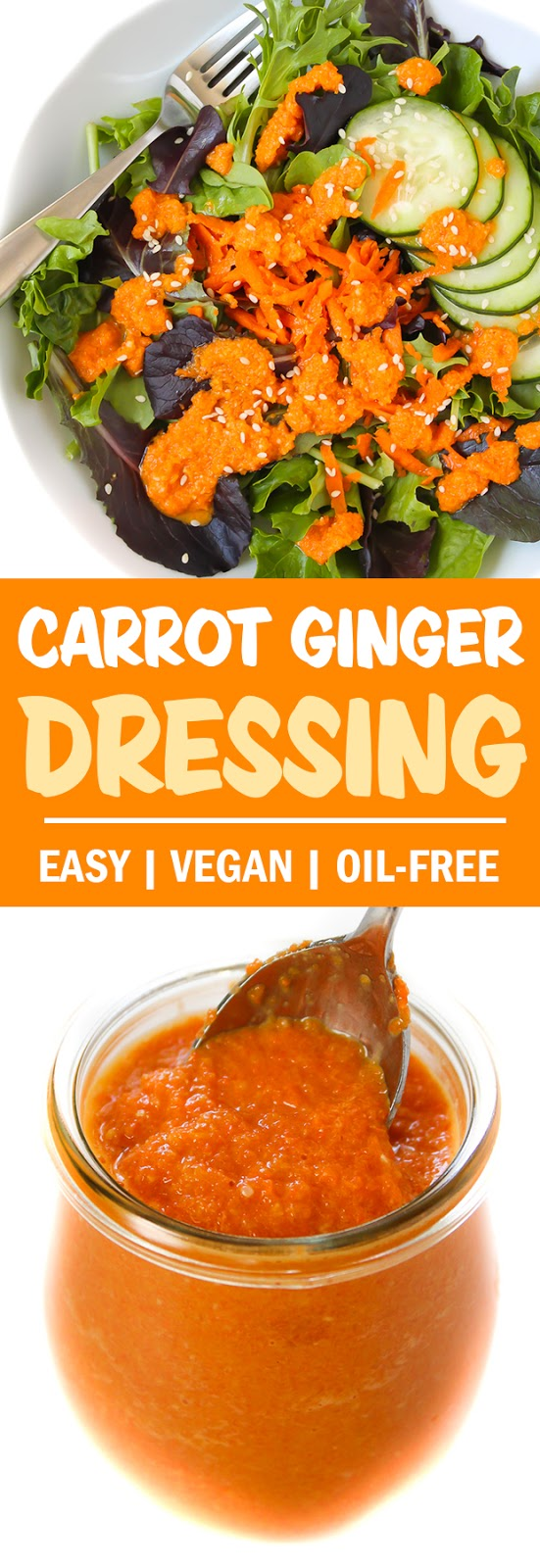 Photo collage of carrot ginger miso dressing