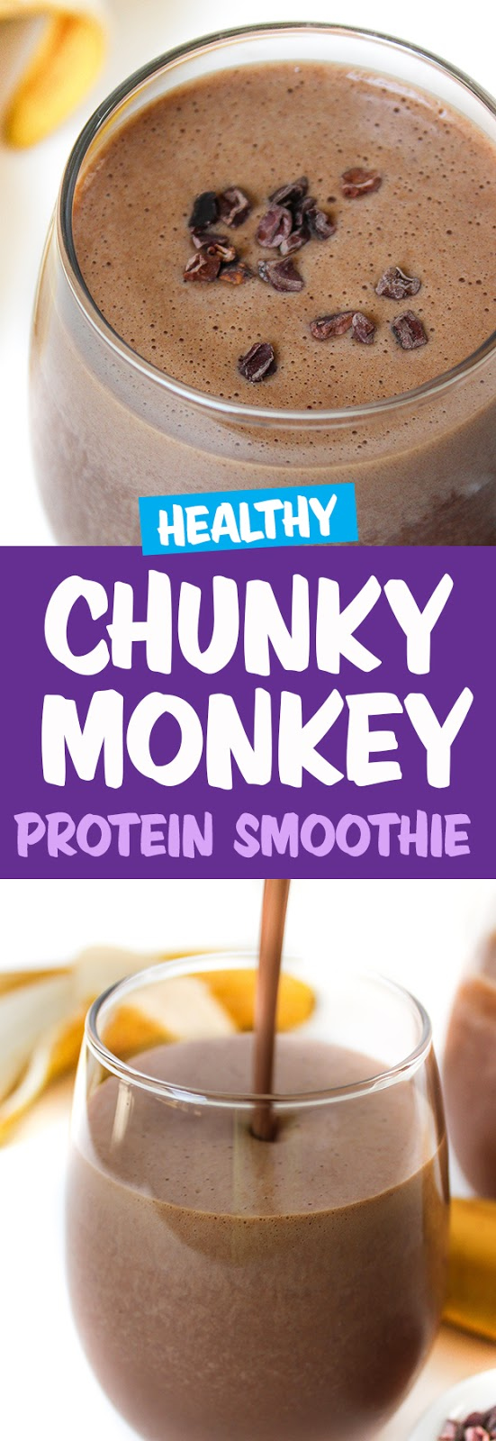 Photo collage of vegan chunky monkey protein smoothie