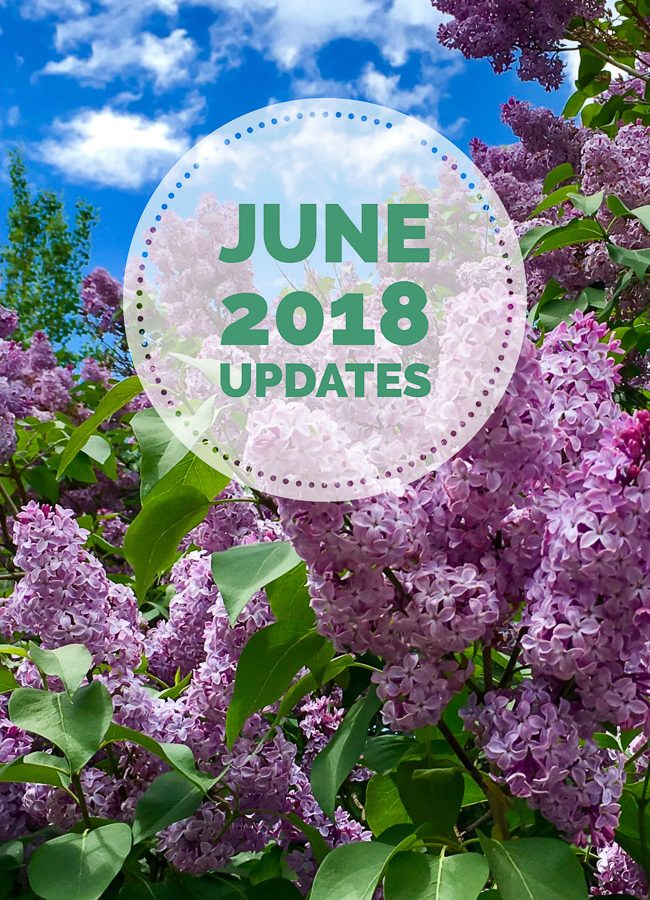 June 2018 updates photo collage with lilac bush background