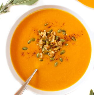 Bowl of Butternut Squash Soup with spoon