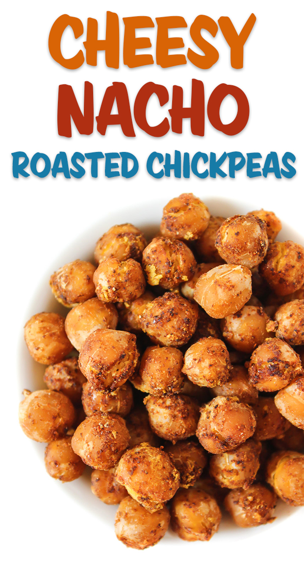 cheesy nacho roasted chickpeas in a bowl
