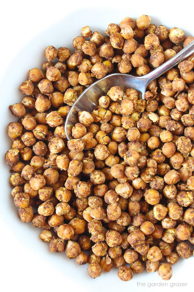 Bowl of nacho roasted chickpeas after baking