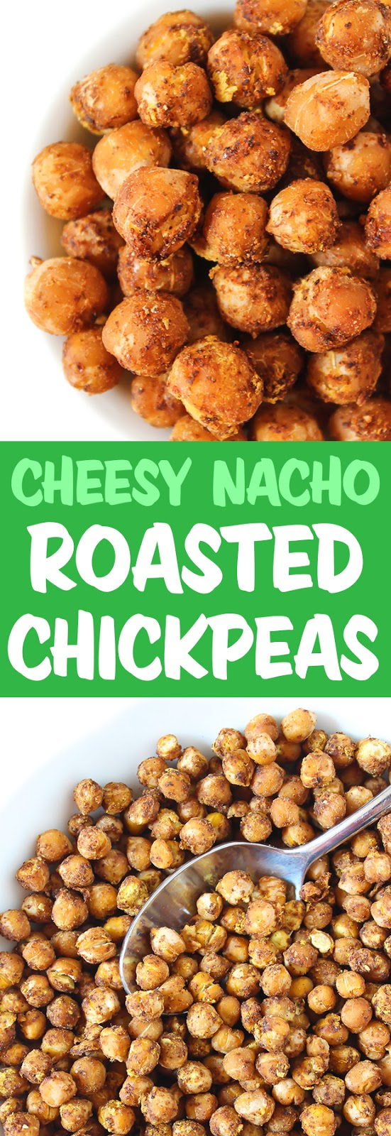 Photo collage of cheesy nacho chickpeas