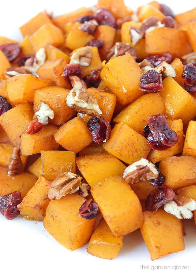 Roasted butternut squash with maple and cinnamon on a plate