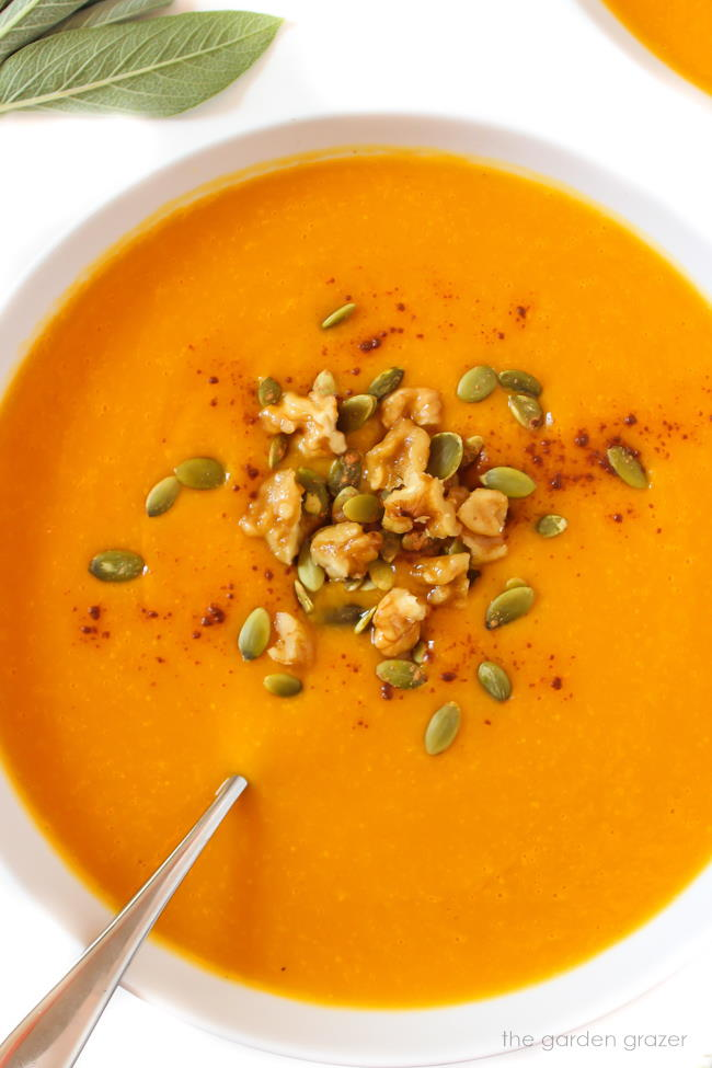 Vegan roasted butternut soup in a white bowl with spoon and toppings