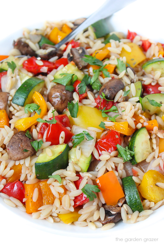 Close up view of roasted vegetable orzo garnished with fresh parsley