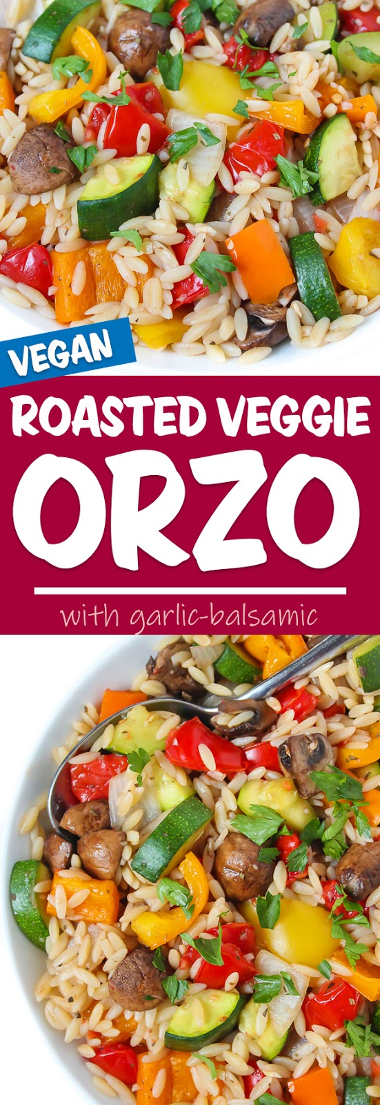 photo collage of roasted vegetable orzo