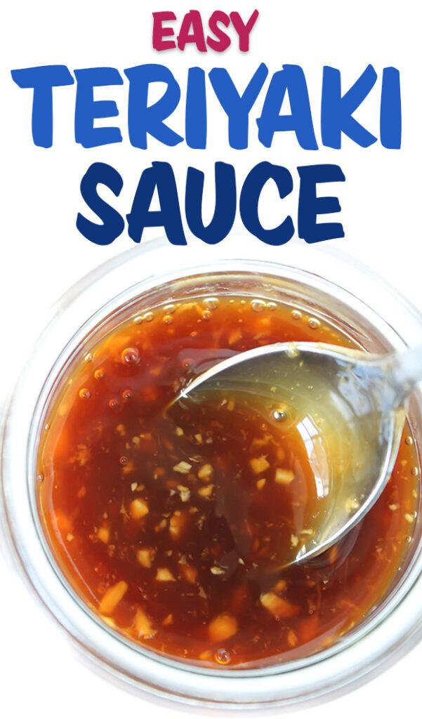 Vegan teriyaki sauce in a jar with spoon