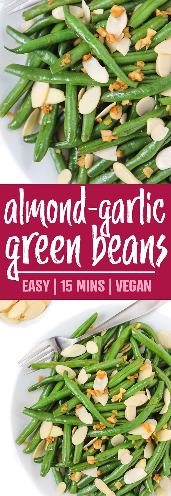 photo collage of almond garlic green beans