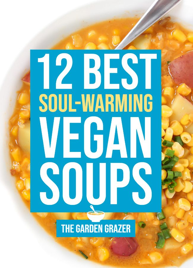 Graphic of 12 best soul-warming vegan soup recipes