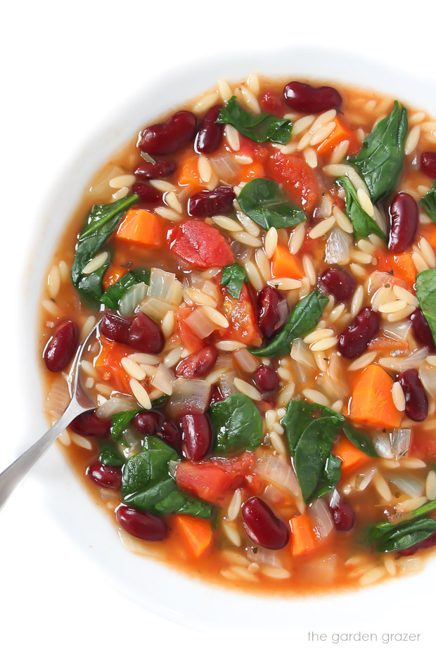 Bowl of kidney bean, spinach, and orzo soup with spoon
